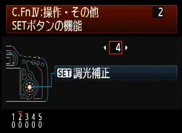 <b>調光補正とWBは、カメラ上部のボタンでは調整できなくなったが、カスタム機能でSETボタンにその役目を割り当てられる。特に調光補正は、ストロボ撮影の多いユーザーはぜひとも設定しておきたい</b>