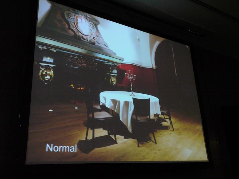<b>HDRアートを説明するプレゼンテーション画面。これは通常撮影</b>