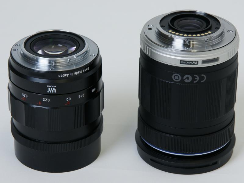 <b>右は「M.ZUIKO DIGITAL ED 14-150mm F4-5.6」。NOKTON 25mm F0.95は電子接点を持たないマニュアルレンズだ</b>