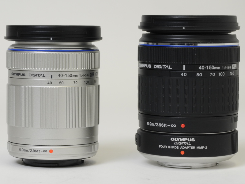 <b>M.ZUIKO DIGITAL ED 40-150mm F4-5.6(シルバー、左)と、MMF-2を装着したZUIKO DIGITAL ED 40-150mm F4-5.6(右)</b>