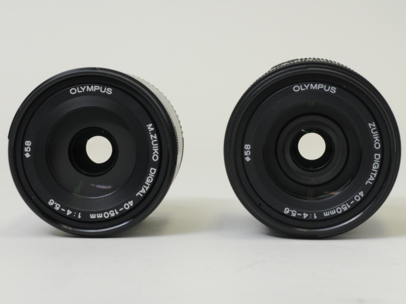<b>M.ZUIKO DIGITAL ED 40-150mm F4-5.6(左)のほうが若干細身だ。フィルター径はどちらも58mmで同じ</b>