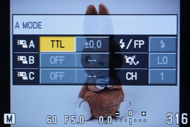 <b>E-PL1sに引き続きRCフラッシュシステムを利用可能(撮影画面の設定メニュー)</b>