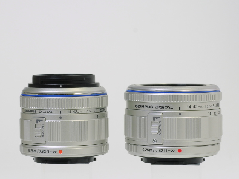 <b>右はE-PL1のキットレンズ「M.ZUIKO DIGITAL ED 14-42mm F3.5-5.6 L」(シルバー)</b>