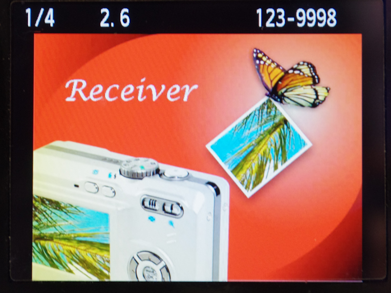 <b>現在は対応するデジタルカメラが存在しないため、送信、受信、設定画面などには再生モードから入る</b>