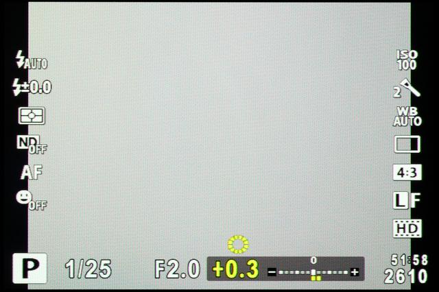 <b>【XZ-1】露出補正時の表示はこんな感じ</b>