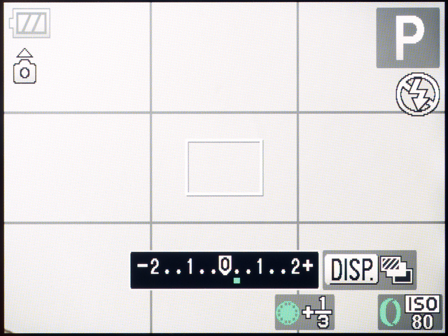 <b>【PowerShot S95】露出補正中の画面。ホイールを回したときだけバーグラフが表示される</b>