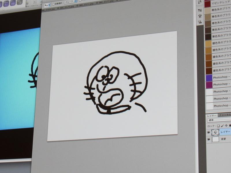 <b>iPad上で描いたイラストをPhotoshopに転送したところ</b>
