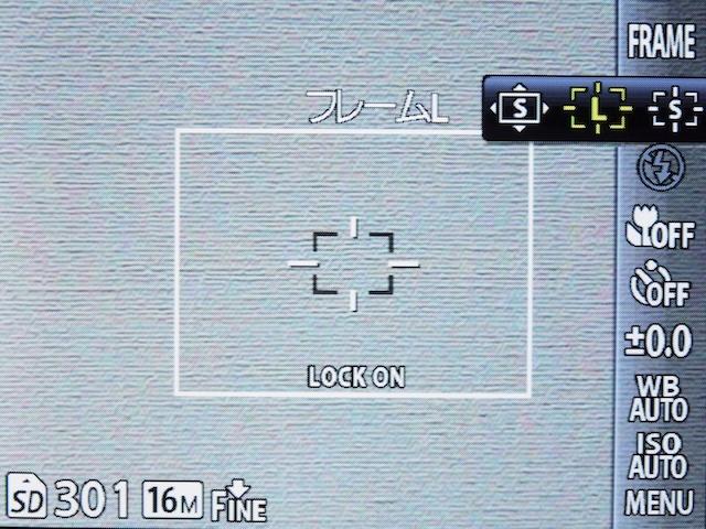 <b>追尾設定時。枠内中央のAFターゲットマークにアップで撮りたい被写体を合わせ、OKボタンを押すと追尾が始まる。フレームサイズはL</b>