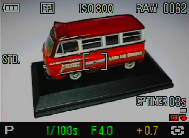 <b>キャプチャー優先モード時の撮影画面。画面の右下にCPタイマーの時間(この場合3秒)と、バー表示による撮影可能枚数(この場合1枚)が表示される</b>
