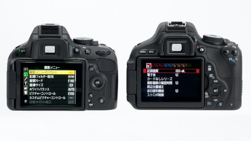 <b>両モデルともに横開きのバリアングル液晶モニターを搭載。EOS Kiss X5は3:2比率で104万ドット、D5100は4:3比率で92万ドット</b>