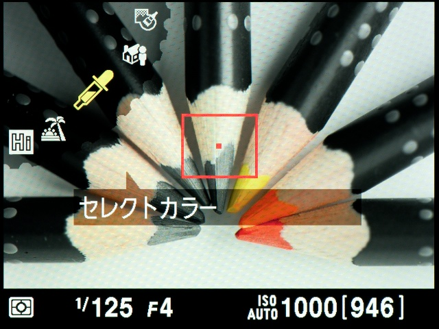 <b>【D5100】選択した色だけを残したモノクロ写真が撮れる「セレクトカラー」。残したい色、彩度などを細かく設定できる</b>