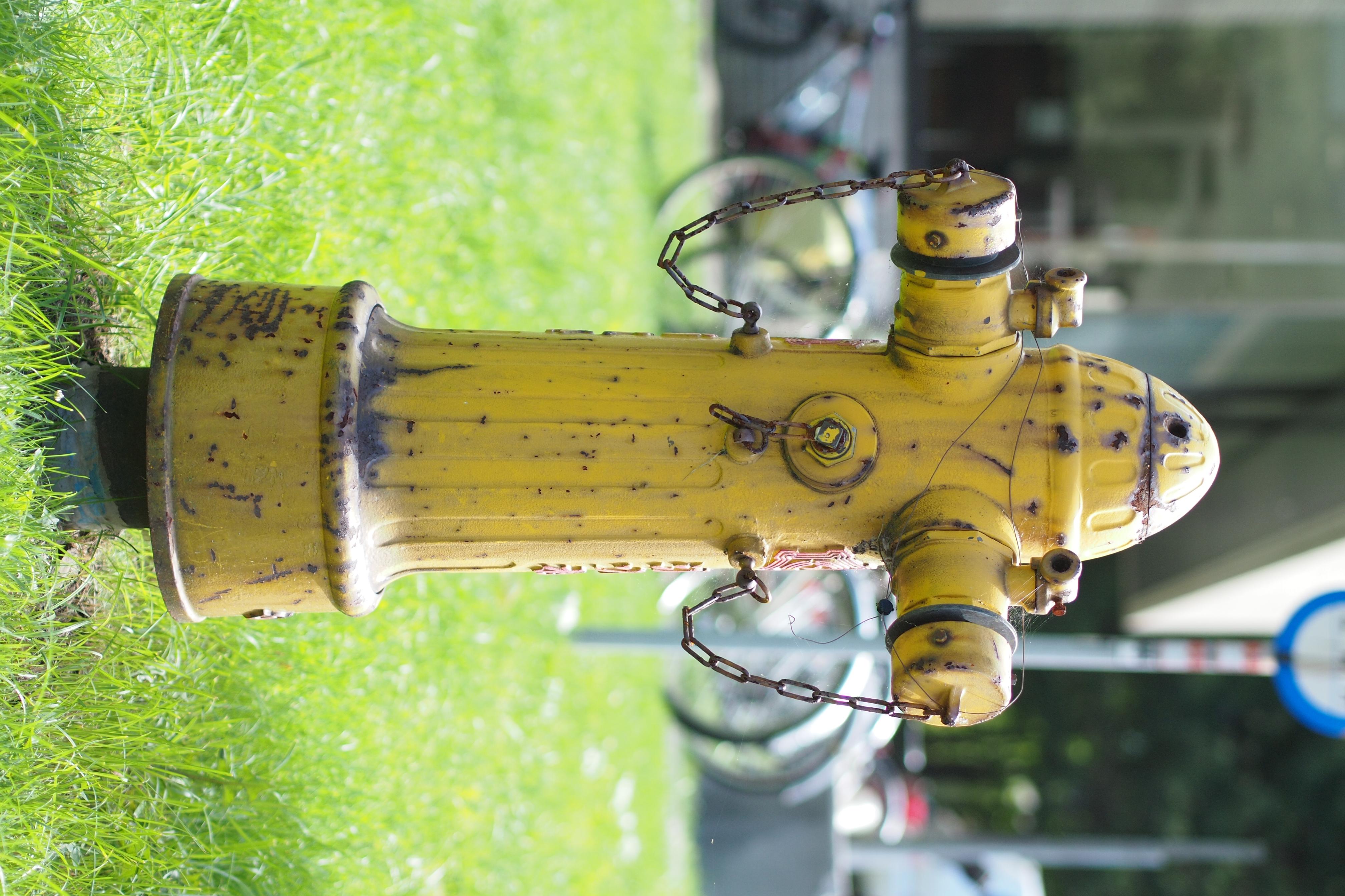 <b>こちらの消火栓はなぜか黄色が定番である。しかも、なぜか地面から少し浮いているのがまた不思議だったりする。E-P3 / M.ZUIKO DIGITAL 45mm F1.8 / 4,032×2,688 / 絞り優先AE / 1/1000秒 / F2 / 0.7EV / ISO200 / WB:太陽光</b>