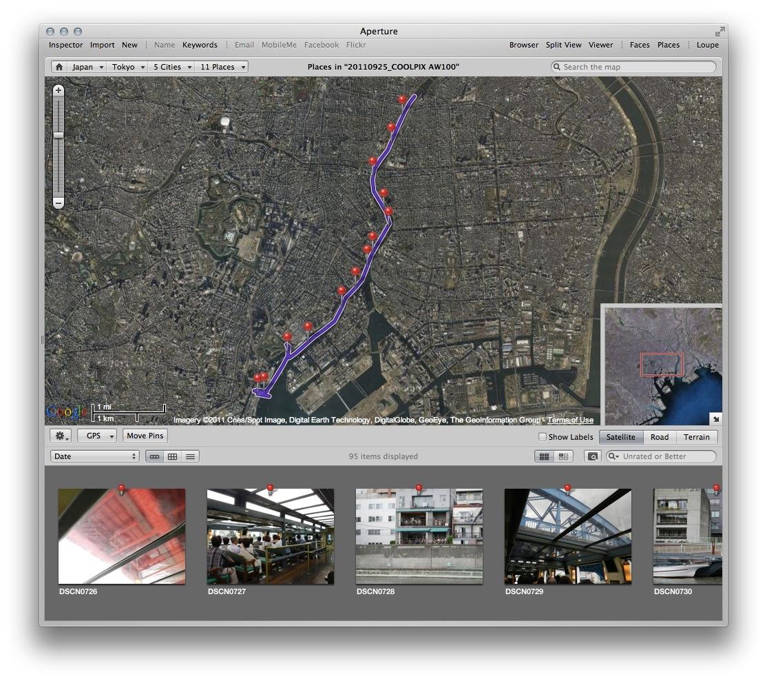 <b>他のソフトでも表示できる。写真はAperture 3。ロガー機能で得られたトラック情報を重ねたところ</b>
