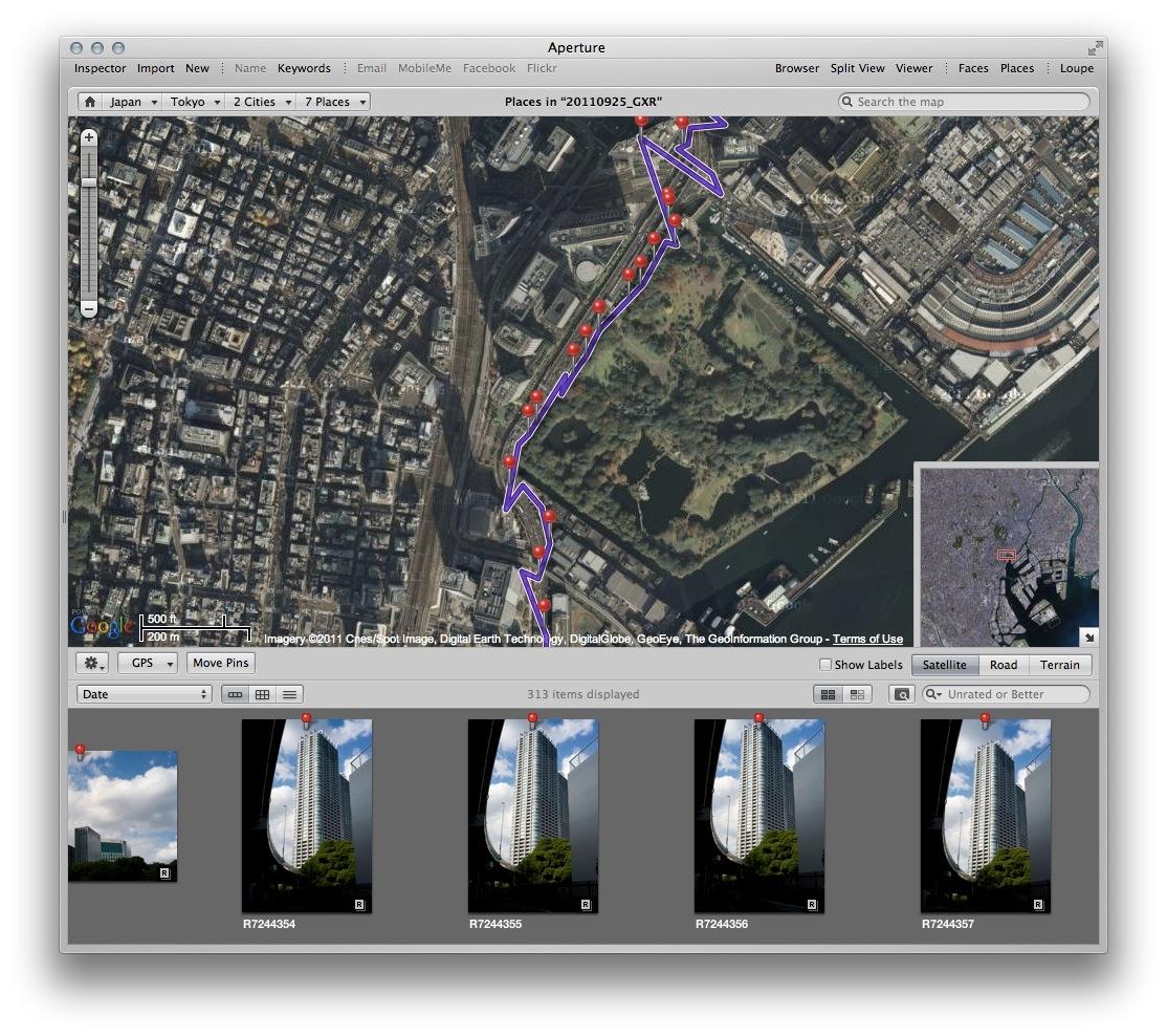 <b>ロガー機能で生成されたトラック情報を、一緒に持ち歩いた別のカメラで撮影した画像に適用</b>