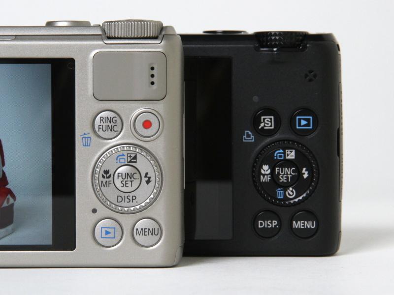 <b>掲載済みの「写真で見る」より、左がS100、右がS95。S95のモードダイヤルはカッコ良かったが、固くて多少回すのに苦労する時もあった</b>