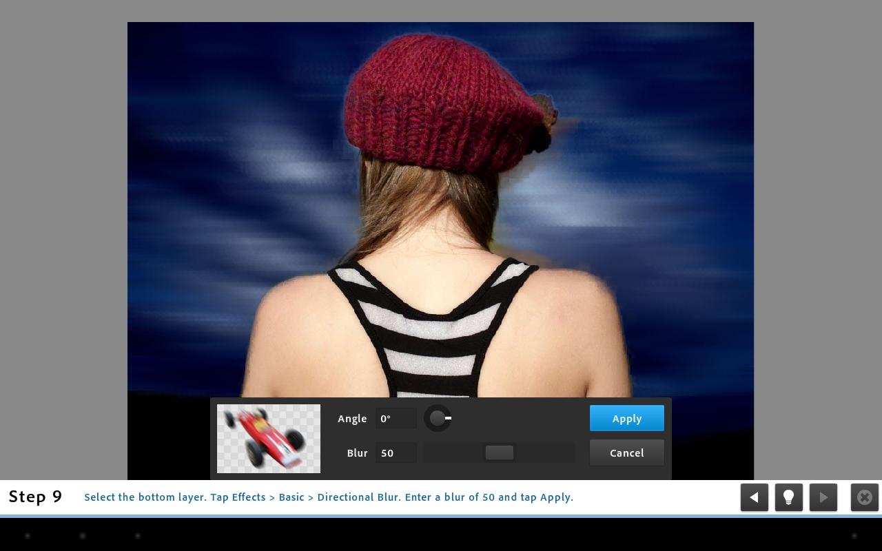 <b>Directional Blurを指定する。画面では少し切り抜きが雑だが、レイヤーを使って簡単に独特の画像を作成できる</b>