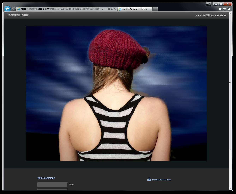 <b>画像の送信相手が閲覧できる画面。「Download source file」からダウンロードできる</b>