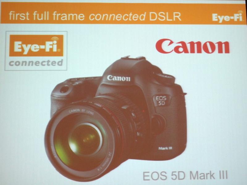 <b>Eye-Fi対応を謳う機種で初というフルサイズ機、キヤノンEOS 5D Mark III</b>