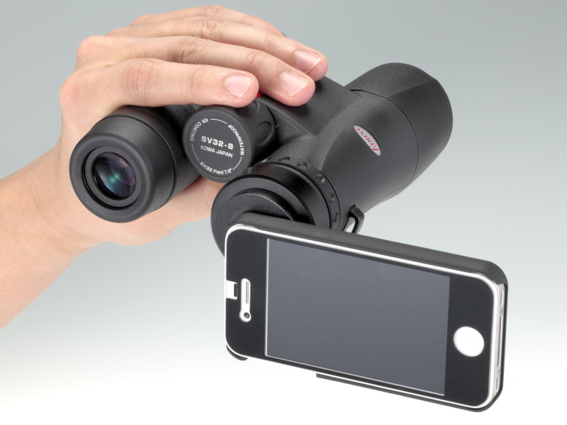 <b>双眼鏡SV32にiPhone 4Sを装着</b>