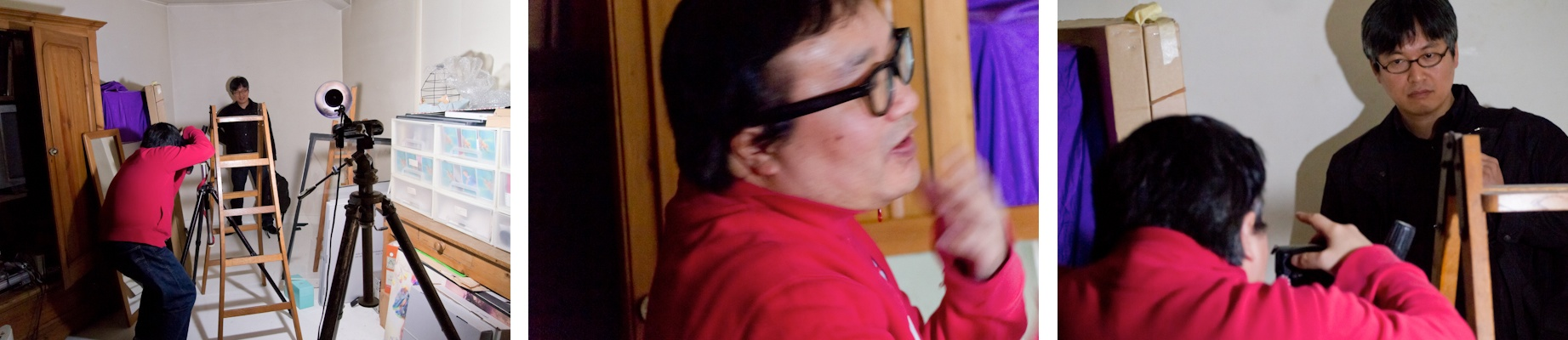 <b>渋谷にある所氏の自宅兼事務所スタジオにて。アドビ システムズの近藤祐爾さんが今日のモデル。近藤さんは「1second」のパソコン上での表現手法を所氏にアドバイスをしながら一緒に探り出した人だ。新しくスタートさせたポートレートシリーズで、第二期の1secondシリーズで所氏がお世話になった人、関係者の人たちのポートレートをその手法で撮っていくというもの。</b>