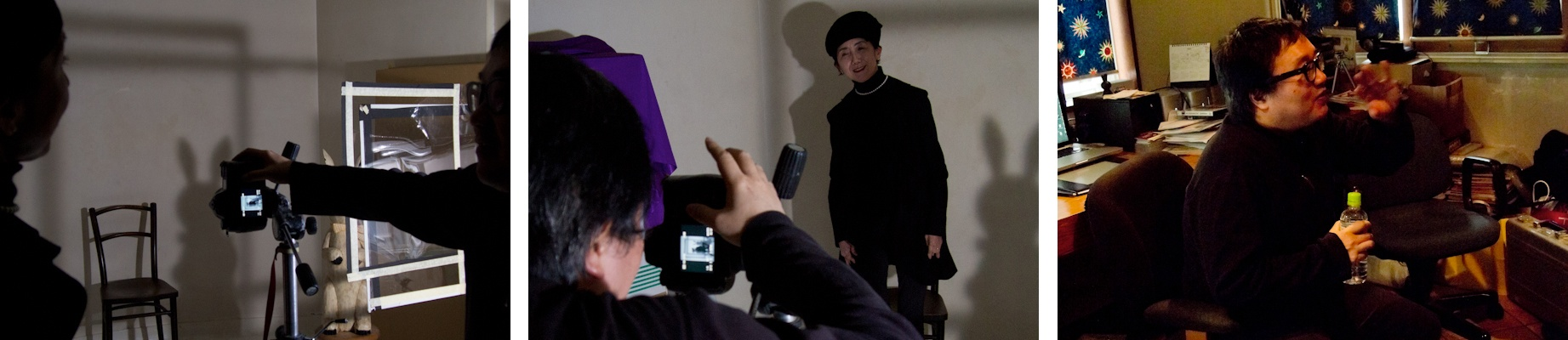 <b>この日のモデルは太田菜穂子さん。ウサギのぬいぐるみの影を組み合わせているのは、太田さんのイメージだと所氏はいう。太田さんはクレー・インクという会社の代表で、ギャラリー21の運営や「東京画」など写真表現プロジェクトの企画やディレクション、コーディネートなどをなさっている。いつ会っても隙のない着こなしでオシャレな方だ。そしてこの日も所くんの悩みに向けての適切なアドバイスが飛び交っていた。彼にとって大事な良き理解者のひとりだ。</b>
