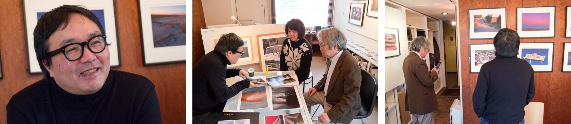 <b>Niiyama's Galleryにて。オーナー新山洋一さんとスタッフの相川淳子さんも加わって、意見交換しながら展示作品が絞られていく。最終的にどの作品が展示されたのかは、会場へ行ってみてのお楽しみだが10数点らしい。赤坂のビルの一室でこじんまりとしているので、目黒にあるコスモスギャラリーとはまた雰囲気が違って、ここもゆっくり話しながら作品を鑑賞出来るスペースだ。</b>