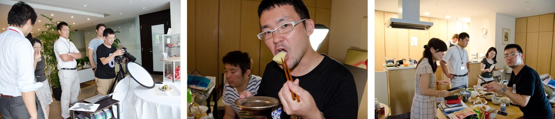 <b>味の素 「Cook Do 香味ペースト」の広告写真撮影の現場。味の素さんのキッチンスタジオへお邪魔した。電通コミュニケーションデザインセンターの関本みよさんのプランニング、アートディレクションはカイブツの木谷友亮さん。この日の美人モデルである、実際に食べても美味しい料理を作っているのは味の素コミュニケーションズの小田明宏さん。この商品は現在は東海・北陸地方で昨年から先行発売中なのだが、近日中に全国発売の予定らしい。</b>