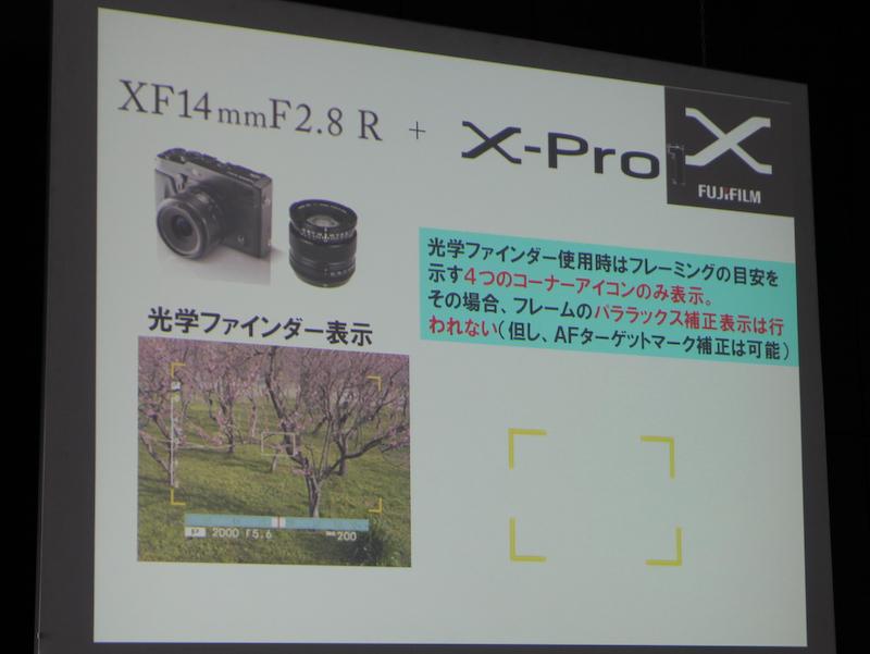 <b>FUJIFILM X-Pro1で使用した場合の光学ファインダー表示。パララックス補正は動作しない</b>