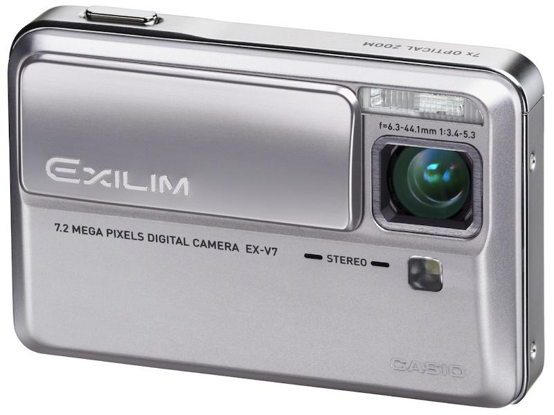<b>EX-V7。EXILIMでは珍しい屈曲光学系のレンズを採用。この頃からEXILIMエンジンがアピールされ始めた</b>