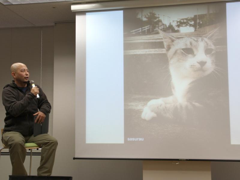 <b>猫は声をかけてから近づき、手なずけた後にそっとスマートフォンを取り出して撮影するという。一眼レフより警戒されにくく、そのネコとどこで会ったかを地図で振り返ることができるのもポイントという</b>