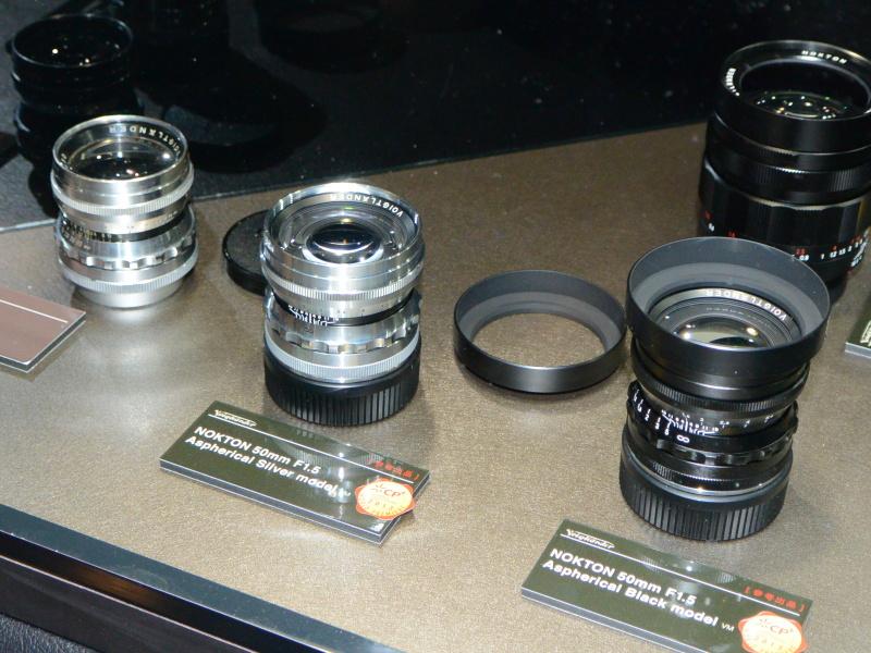 参考出品のVMマウント版NOKTON 50mm F1.5 Aspherical(中央、右)
