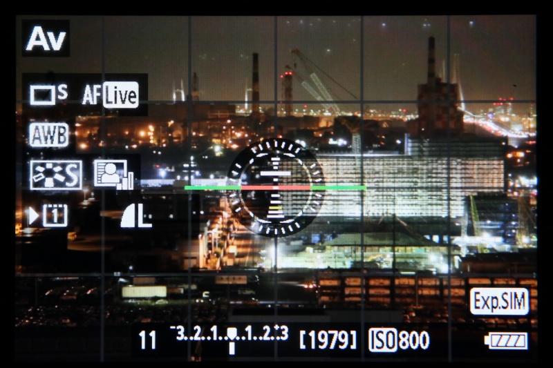 ライブビュー撮影時の画面に電子水準器を表示できるカメラがある(写真はキヤノン EOS 5D MarkIII、以下同)