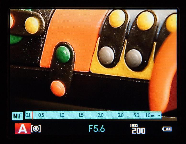 ピーキングを選択すると、合焦した部分のエッジが強調表示される