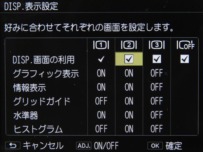 DISP.ボタンで切り替える表示の設定