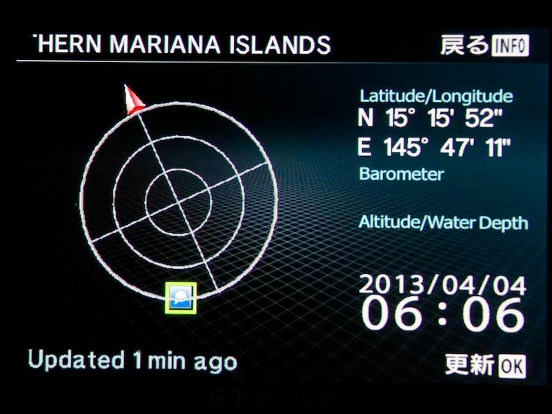 GPS衛星を捕捉していると、DISPボタンによる表示切替で緯度・経度情報が表示できる。TG-1ではMENUボタン長押しだった