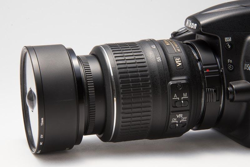 ニコンD5000、ケンコーデジタル接写リング、AF-S Nikkor 18-55mm F3.5-5.6 G、52→67mmステップアップリング、ケンコー メタルフード(KMH-67)、72mmのフィルター枠、宙玉。
