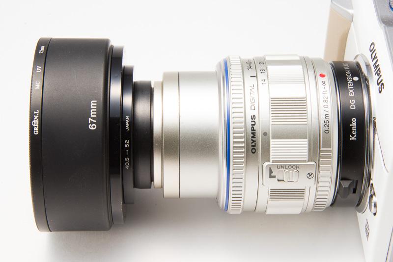 OLYMPUS PEN Lite E-PL1、ケンコーデジタル接写リング、M.ZUIKO DIGITAL ED 14-42mm F3.5-5.6 L、40.5→52mmステップアップリング、52→67mmステップアップリング、ケンコー メタルフード(KMH-67)、72mmのフィルター枠、宙玉。
