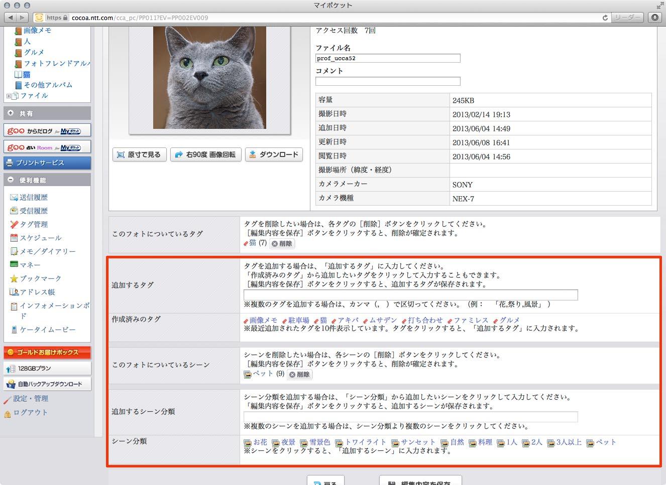 それぞれの写真には「タグ」や「シーン」と呼ばれる絞り込み検索用キーワードを付加できる。