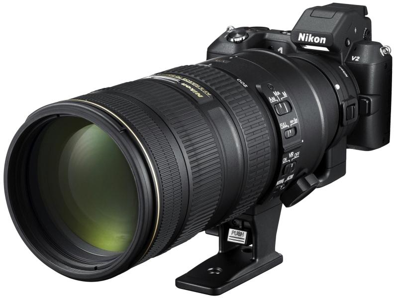 Nikon 1 V2にマウントアダプターFT1とAF-Sレンズを装着したイメージ