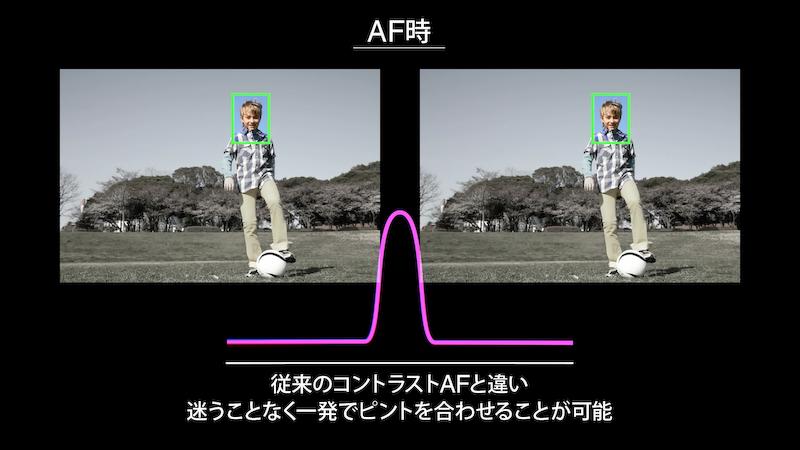 コントラストAFは合焦点付近で迷う動作をするが、デュアルピクセルCMOS AFでは一発で合焦する。