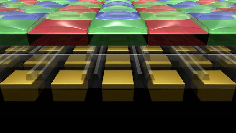 マイクロレンズとは、集光効率を上げるためにフォトダイオードの上に乗っているレンズのこと。