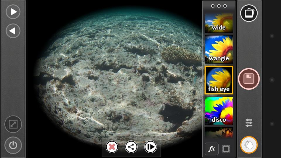 エフェクト機能には、風合い・色味などに影響を与えるもののほか、「fish eye」などのレンズをシミュレートするものもある