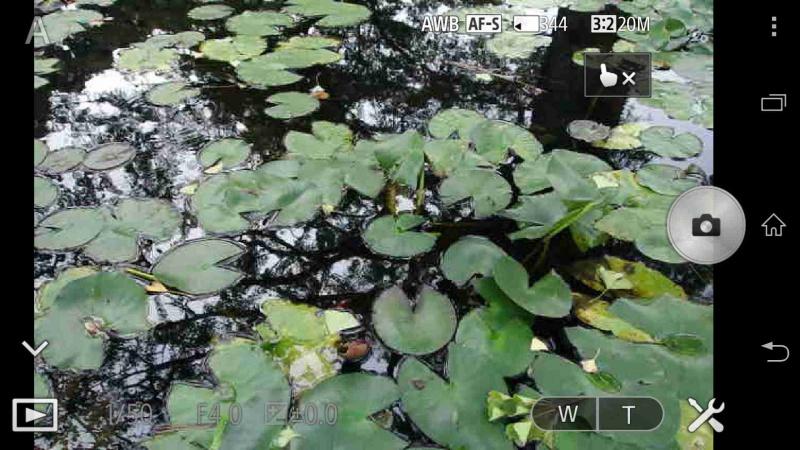 撮影可能状態の「PlayMemories Mobile」アプリの画面。シャッター、ズーム、画像再生などをタッチ操作で行う。ピントを合わせたい場所に任意でタッチAFをすることもできる。