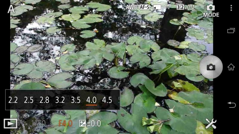 撮影モードを「絞り優先撮影」にした場合の絞りの設定画面。