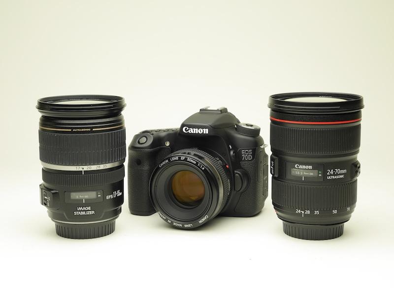 撮影には明るいレンズが有利です。左からEF-S 17-55mm F2.8 IS USM、EF 50mm F1.4 USM(EOS 70Dに装着)、EF 24-70mm F2.8 L II USM
