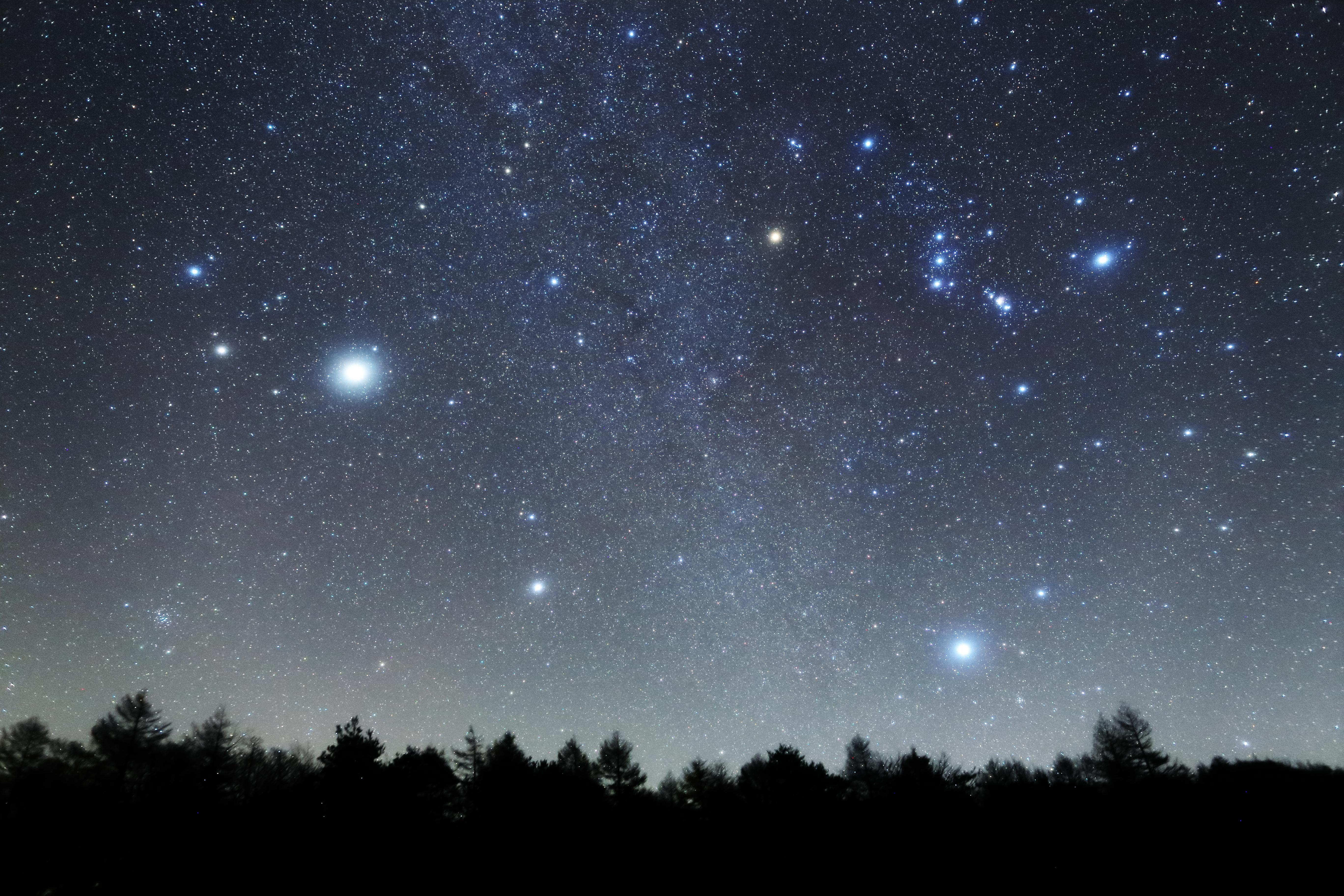 "<b class="""">ソフトフィルターの効果</b><br class="""">左がソフトフィルターあり、右がソフトフィルターなし。東の空に昇ってきたオリオン座と冬の大三角。ふたご座の明るい星は木星です。画面中央を斜めに淡い冬の天の川が流れています。<br class="""">EOS 6D / EF 24mm F1.4L II USM / F2.5 / 30秒 / ISO3200 / 追尾撮影"