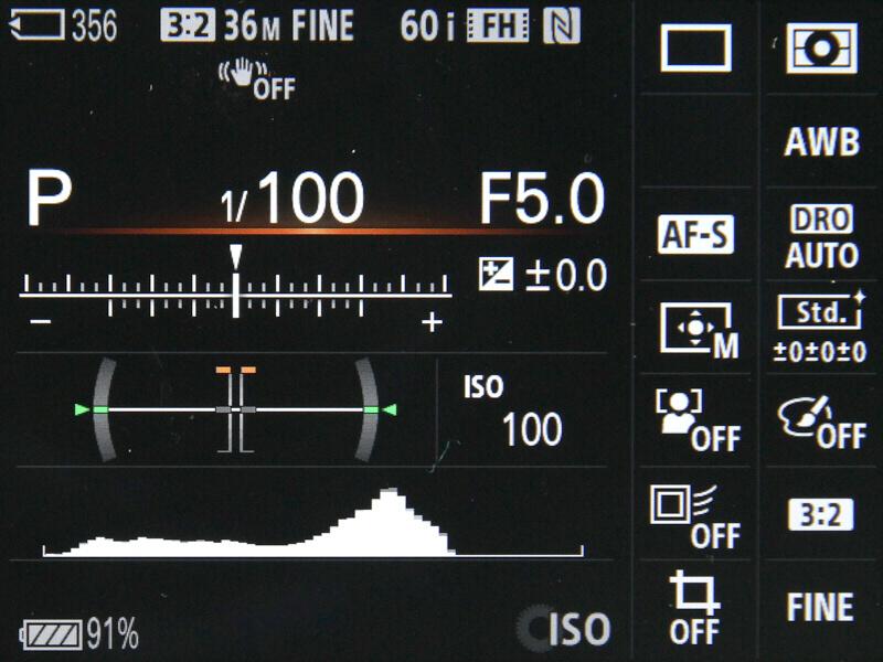 EVF撮影向けの情報表示