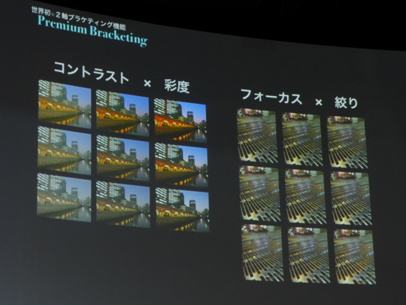 2つのパラメーターを変えた9枚の写真が撮影できる。