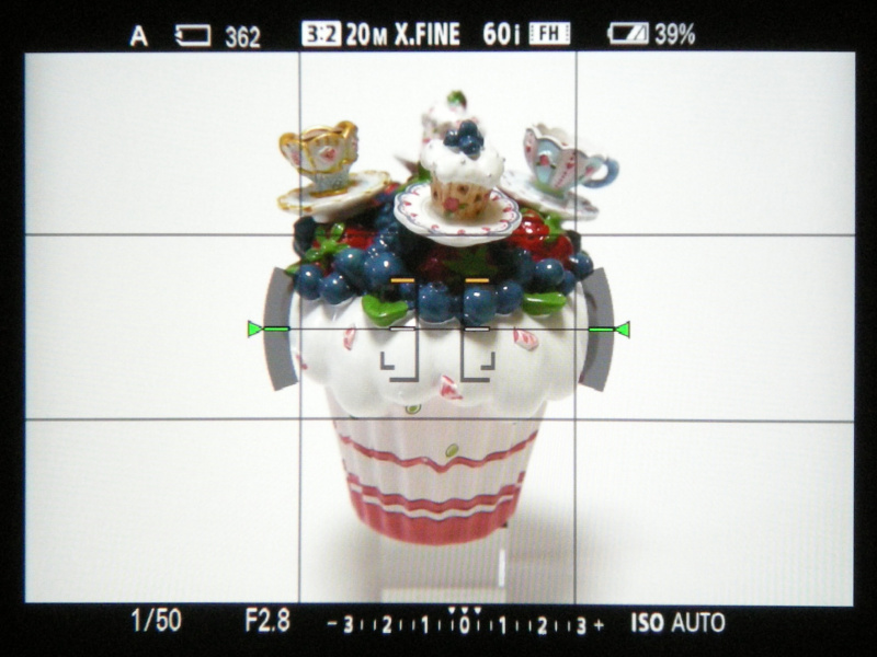 EVF内を撮影。左より情報表示なし、ヒストグラム、水準器となる。なお、格子線はデフォルトの設定では表示されない。