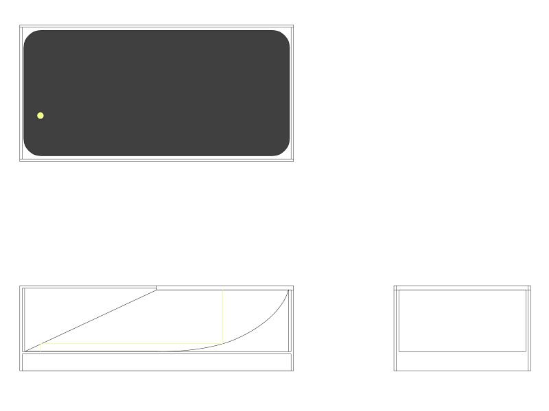 """制作するのは暗箱に透過光スクリーンと光源を備えたいわゆるライトボックスなのだが、サイズをコンパクトに押さえるためと、間接照明で光を和らげる効果を狙って""""Z光路""""の反射板を内蔵することにした。というわけで工作の前にパソコンで図面を描いてみた。"""
